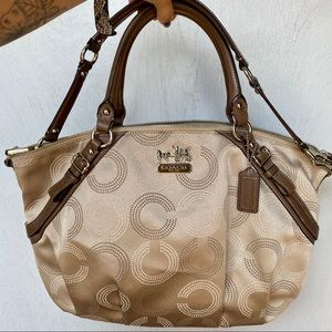 Coach Madison/ Sophia Dotted Champagne Satchel Bag